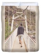 Man On Alexandra Suspension Bridge In Tasmania Duvet Cover