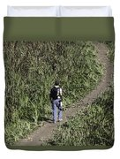 Man With A Canon Camera And Lens In Greenery Duvet Cover