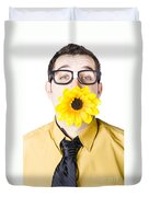 Man With Flower In Mouth Duvet Cover