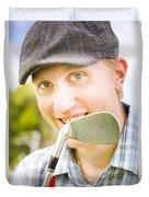 Man With Golf Club Duvet Cover