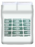 Many One Dollar Bills Side By Side Duvet Cover