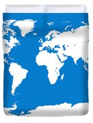 Map In Blue And White Duvet Cover