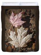 Maple Leaves In Water Duvet Cover