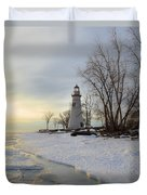 Marblehead Lighthouse Winter Sunrise Duvet Cover