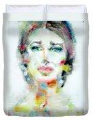 Maria Callas - Watercolor Portrait.2 Duvet Cover