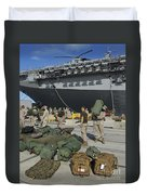 Marines Move Gear During An Embarkation Duvet Cover by Stocktrek Images