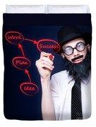 Marketing Business Man Drawing Success Diagram Duvet Cover