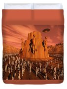 Martians Gathering Around A Monument Duvet Cover
