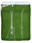 Mccarty Gibson Stringed Instrument Patent Drawing From 1958 - Green Duvet Cover by Aged Pixel