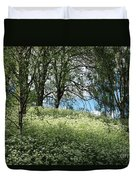 Meadow And Trees In Spring. Vitabergsparken, Stockholm, Sweden. Duvet Cover