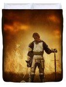 Medieval Knight On A Burning Battlefield Duvet Cover