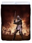 Medieval Knights In Battle Duvet Cover