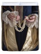 Medieval Or Tudor Woman Holding A Pearl Necklace Duvet Cover