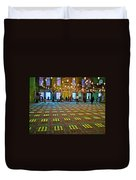 Men Inside The Blue Mosque In Istanbul-turkey Duvet Cover