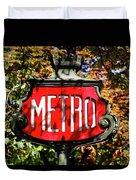 Metro Sign, Paris, France Duvet Cover