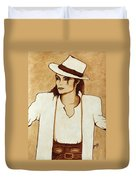 Michael Jackson Original Coffee Painting Duvet Cover