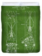 Mine Elevator Patent From 1892 - Green Duvet Cover