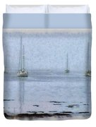 Misty Sails Upon The Water Duvet Cover