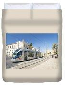 Modern Tram In Central Jerusalem Israel Duvet Cover