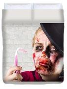 Monster Holding Sad Toothbrush. Rotting Teeth Duvet Cover