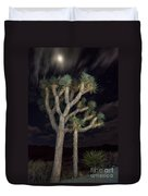 Moon Over Joshua - Joshua Tree National Park In California Duvet Cover