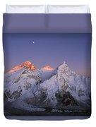 Moon Over Mount Everest Summit Duvet Cover