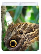 Mournful Owl Butterfly Duvet Cover