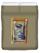 Mysterious Girl Face Portrait - Painting On The Wood Duvet Cover