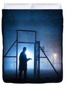 Mysterious Man With Pistol Ballpark Night Fog Duvet Cover