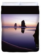 Needles Silhouetted Cannon Beach Oregon Duvet Cover