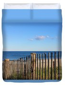 New England Beach Past A Fence Duvet Cover