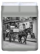 New Orleans - Carriage Ride Bw Duvet Cover