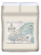 New York City Map, 1728 Duvet Cover