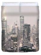 New York City - Snow Covered Skyline Duvet Cover