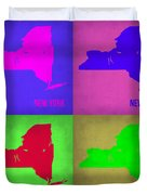 New York Pop Art Map 1 Duvet Cover