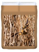 New Zealand Fantail Chicks Being Fed By Parents Duvet Cover