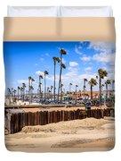 Newport Beach Dory Fishing Fleet Market Duvet Cover