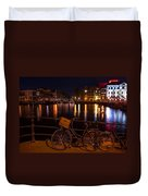 Night Lights On The Amsterdam Canals. Holland Duvet Cover
