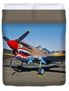 Nose Art On A Curtiss P-40e Warhawk Duvet Cover