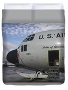 Nose Cone Detail On A Lc-130h Aircraft Duvet Cover by Timm Ziegenthaler