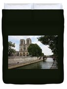 Notre Dame Along The Seine Duvet Cover