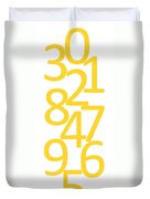 Numbers In Yellow Duvet Cover