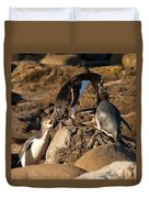 Nz Yellow-eyed Penguins Or Hoiho Feeding The Young Duvet Cover