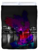 Oakland Map And Skyline Watercolor Duvet Cover