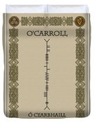 O'carroll Written In Ogham Duvet Cover