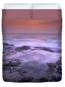 Ocean And Lava Rocks At Sunset Puuhonua Duvet Cover