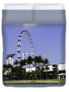 Oil Painting - Preparation Of Formula One Race With Singapore Flyer And Marina Bay Sands Duvet Cover