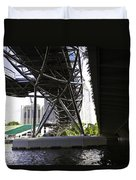 Oil Painting - View Under The Bayfront Bridge And Helix Bridge In Singapore Duvet Cover