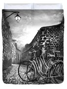 Old Bicycles On A Sunday Morning Duvet Cover by Debra and Dave Vanderlaan