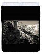 Old Black Locomotive Engine Details Duvet Cover